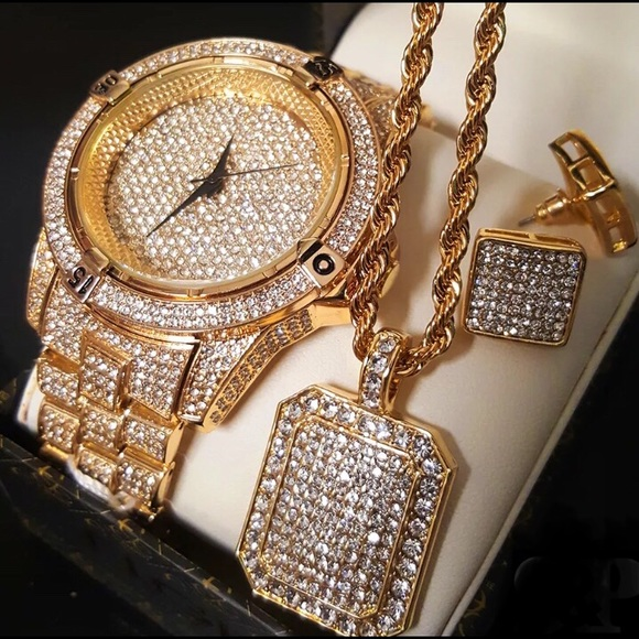 Accessories | Saleiced Out Gold Bling Hip Hop Mens Jewelry Set