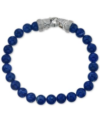 Esquire Men's Jewelry Sodalite (8mm) Beaded Bracelet in Sterling