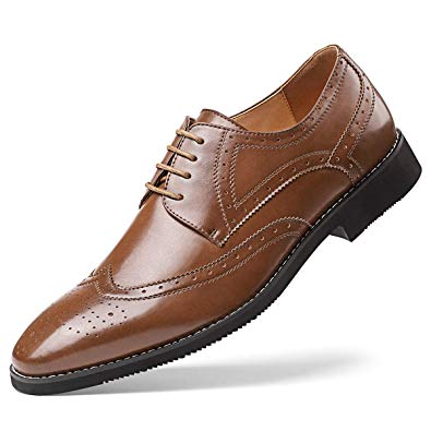Amazon.com | Men's Leather Oxford Dress Shoes Formal Lace Up Modern