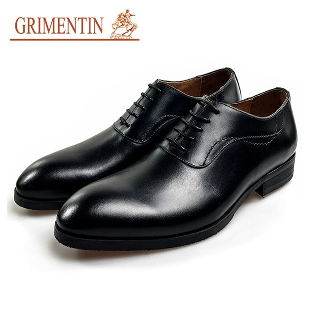 GRIMENTIN men genuine leather shoes men lace up dress shoes black