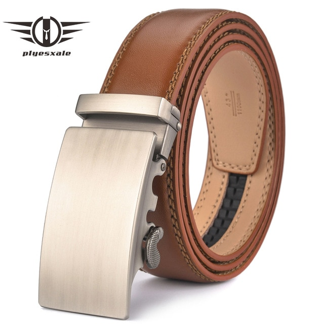 Plyesxale Brown Leather Belt Men 2018 Automatic Buckle Mens Belt For