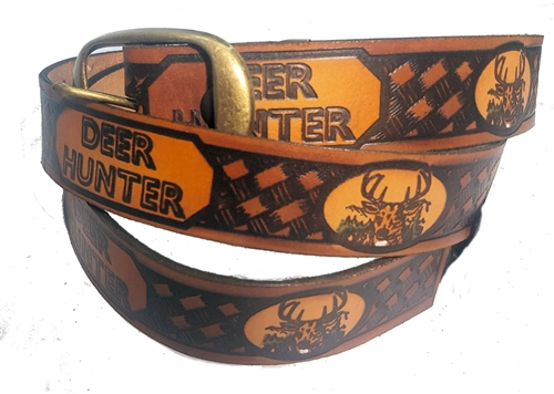 Men's Deer Hunter Genuine Leather Print Belts