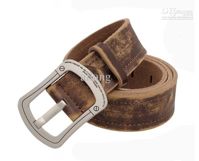 Mens Western Leather Belt Pin Silver Buckle Brown Genuine Steel