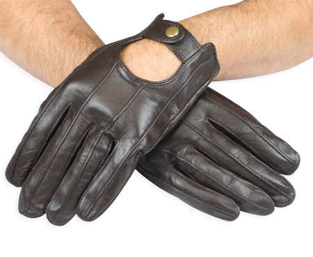 Mens Leather Driving Gloves - Walnut