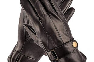 Amazon.com: Pierre Cardin Leather Glove with Strap (Black, Large