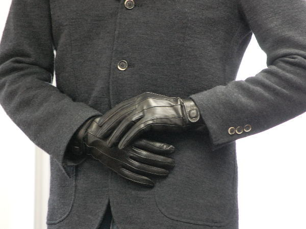 ROSEGRAY: Italy men's leather gloves and glove スクエアボタン
