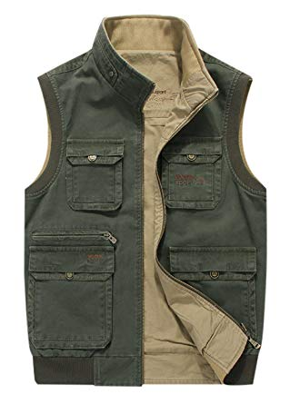 Gihuo Men's Reversible Outdoor Pockets Fishing Safari Travel Vest