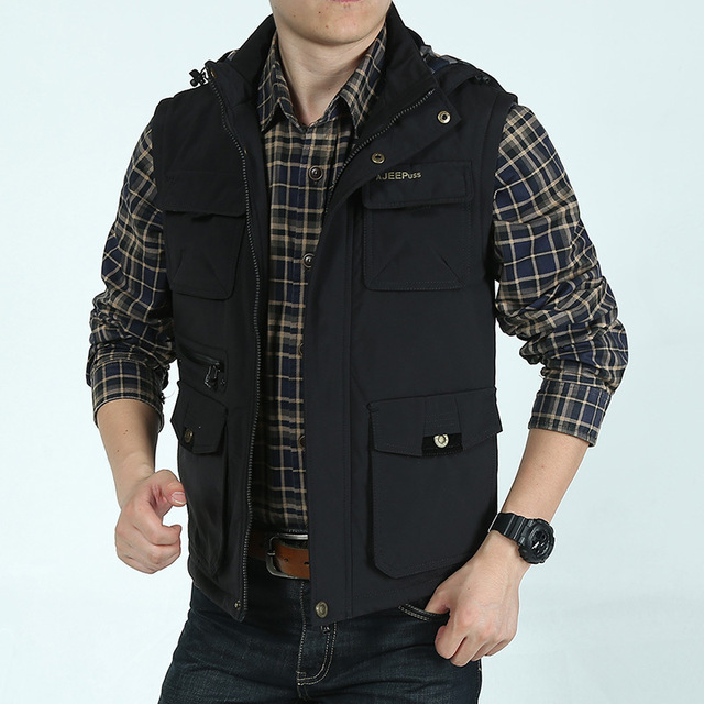 Mens vest outdoor Cotton sleeveless hoodie Vest journalist photo