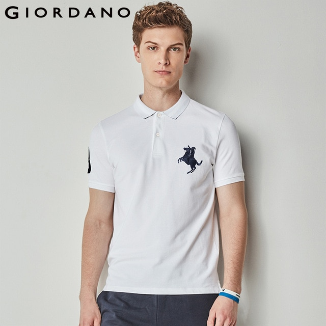 Giordano Men Polo Shirt Men Napoleon Embroidery Polo Homme Pattern