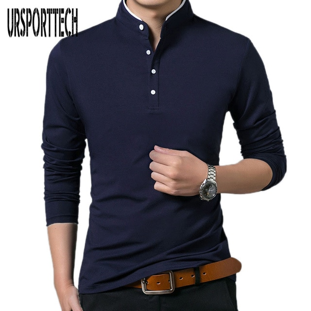 High Quality Men Polo Shirt Mens Long Sleeve Solid Polo Shirts