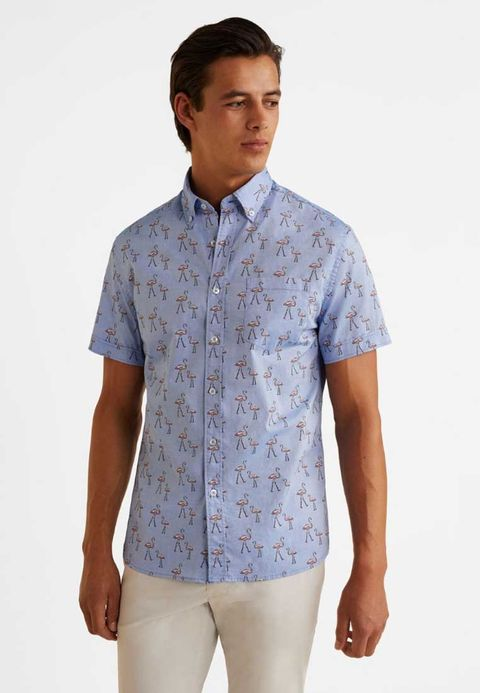 Mango FLAMIN-H Men's shirt blue Men's Print Shirts Button down 100