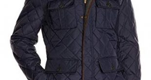 Vince Camuto Men's Quilted Jacket with Plaid Yoke at Amazon Men's