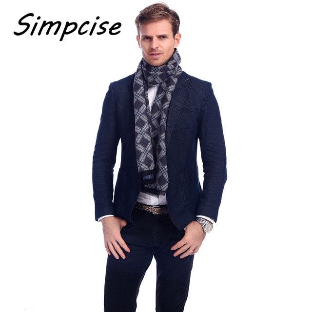 Simpcise] Luxury Men Scarf Mufflers Business Style Men's Scarves
