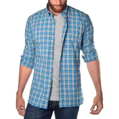 Soft-Wash Tall Men's Shirts in Blue Plaid | American Tall