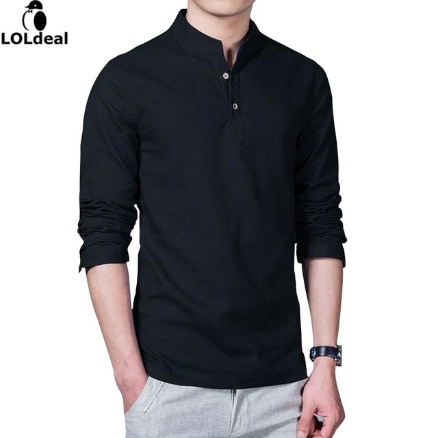 Loldeal 2018 Asian Fashion Long Sleeve Mandarin Collar Mens Shirts