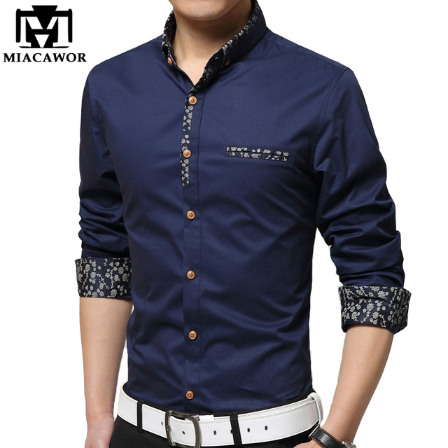 MIACAWOR New Casual Mens Shirt Print Colla Cotton Dress Shirts Slim