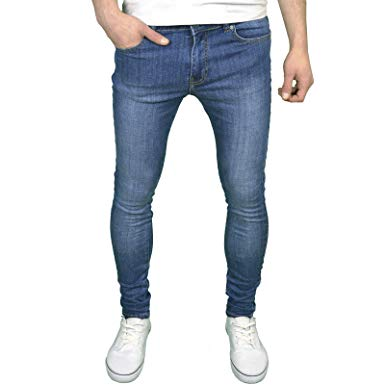 Enzo Mens Designer Super Stretch Skinny Fit Jeans at Amazon Men's