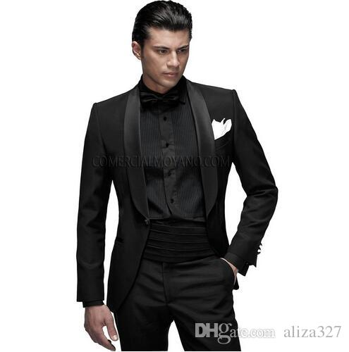 Men'S Classic Black Suit Groom Marriage Set Shawl Cape Satin Best