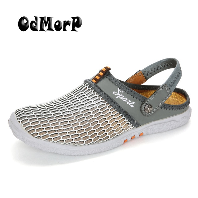 ODMORP Men Summer Shoes Sandals New Breathable Men Slippers Mesh