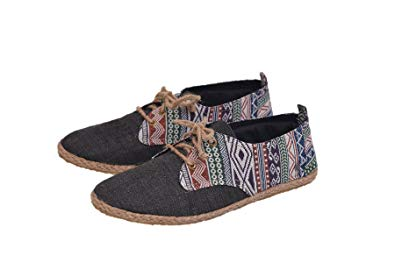 Amazon.com | virblatt Men's lace-up Hemp Shoes Patterned Espadrilles