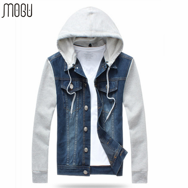 MOGU 2017 New Arrival Jeans Jacket Men Hooded Sweatshirt Sleeve