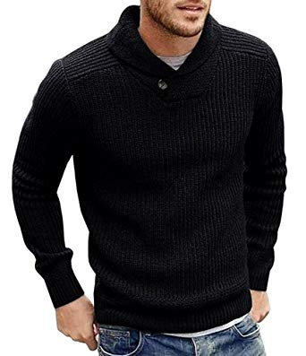Runcati Mens Sweaters Shawl Collar Slim Fit Pullover Fall Winter