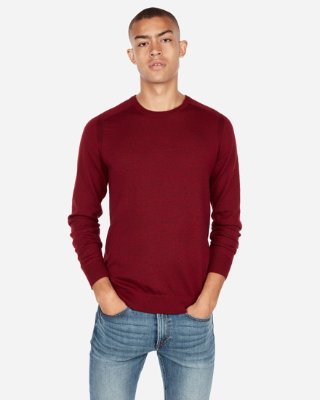 Merino Wool Blend Thermal-regulating Solid Crew Neck Sweater | Express