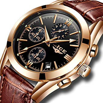 Amazon.com: Mens Watches Leather Analog Quartz Watch Men Date