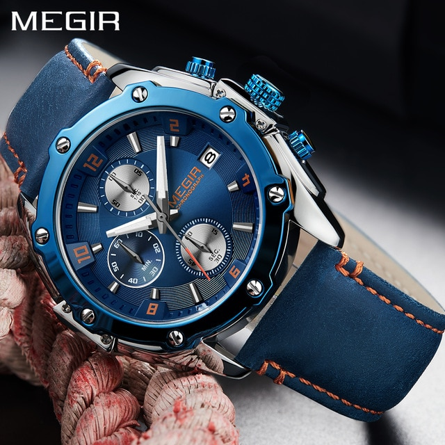 Megir 2018 New Fashion Mens Watches Top Brand Luxury Blue Leather