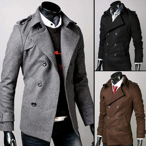 Double Breasted Mens Trench Coat Stylish Winter Pea Coats Shoulder