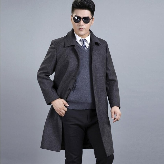 Mens Wool Winter Coats Middle Aged Fashion Classic Men Winter Jacket