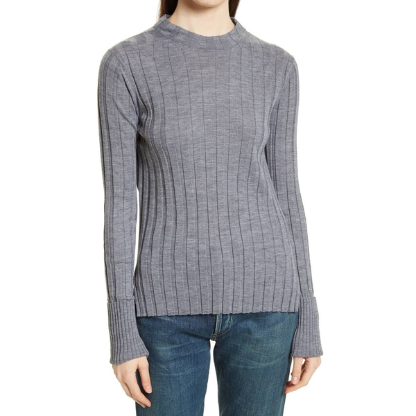 Theory Wide-Ribbed Mock Neck Merino Wool Sweater | evaChic
