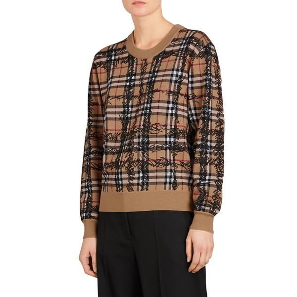 Burberry Kern 48 Scribble Check Merino Wool Sweater | evaChic