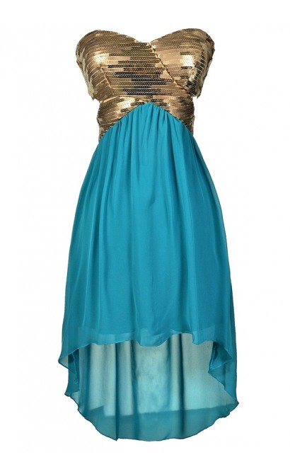 Green and Gold High Low Dress, Mermaid Dress, Teal and Gold Sequin