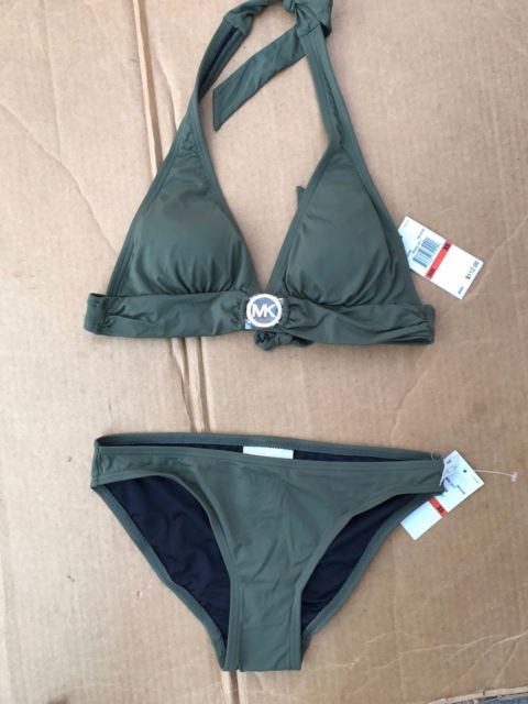 Michael Kors Swim Wear Suit Bikini Set Top Bottom Olive Green Gold