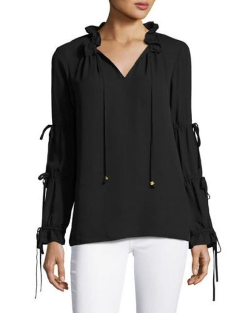 Michael Kors Drawstring Peasant Blouse Long Sleeve Black Size S for