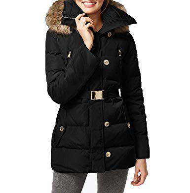 Amazon.com: Michael Kors Fur Trim Hooded Down Coat: Clothing