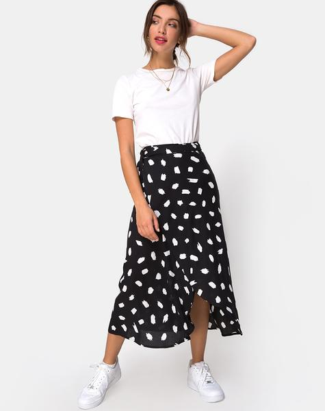 Satha Midi Skirt in Diana Dot Black by Motel u2013 motelrocks.com