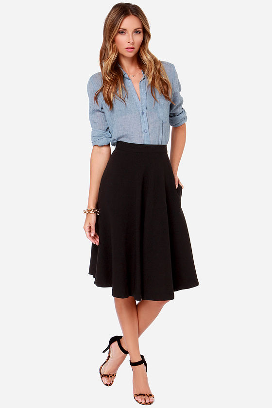 Finders Keepers Skirt - Black Skirt - Midi Skirt
