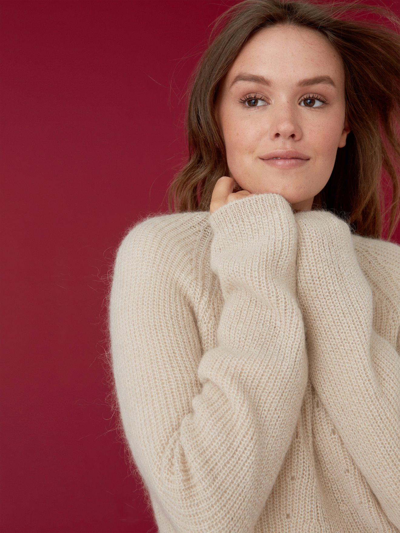 Women's openwork knit mohair sweater, MASAKI - beige light solid
