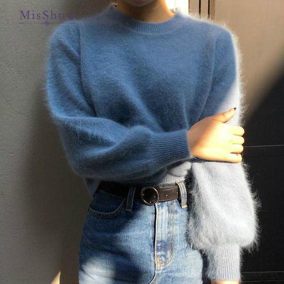 2019 Cashmere Sweater Winter Turtleneck Women Mohair Sweaters And