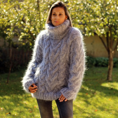 Sexy Gray black mix cable hand knit mohair sweater by Extravagantza