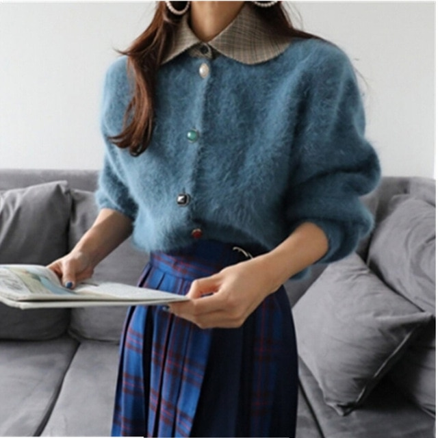 Diamond button Sweater Coat Winter mohair thickening warm Long