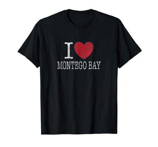 Amazon.com: I Heart Montego Bay Jamaica Vintage Distressed T Shirt