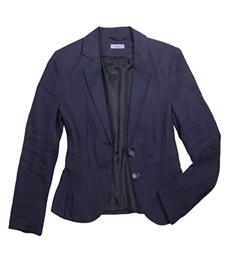 MONTEGO Women´s two-button linen blazer, navy blue, size 10 at