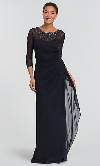 Long Three-Quarter-Sleeve Mother-of-the-Bride Dress