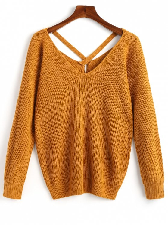 29% OFF] 2019 V Neck Criss Cross Pullover Sweater In MUSTARD ONE