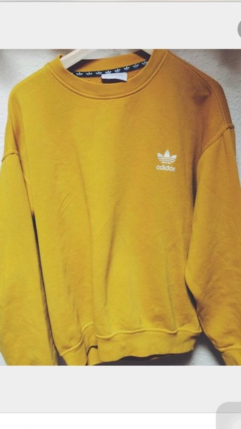 sweater, adidas, yellow, mustard, oversized, mens sweater, mustard