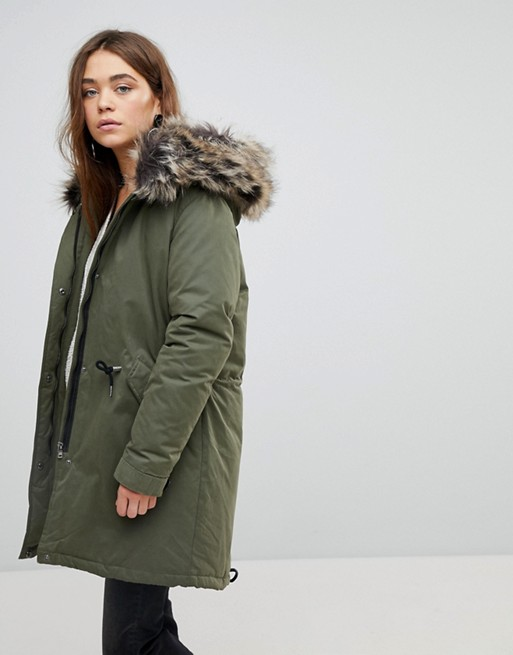 Good Price Only Down Parka With Faux Fur Hood U49e3 For Women Save