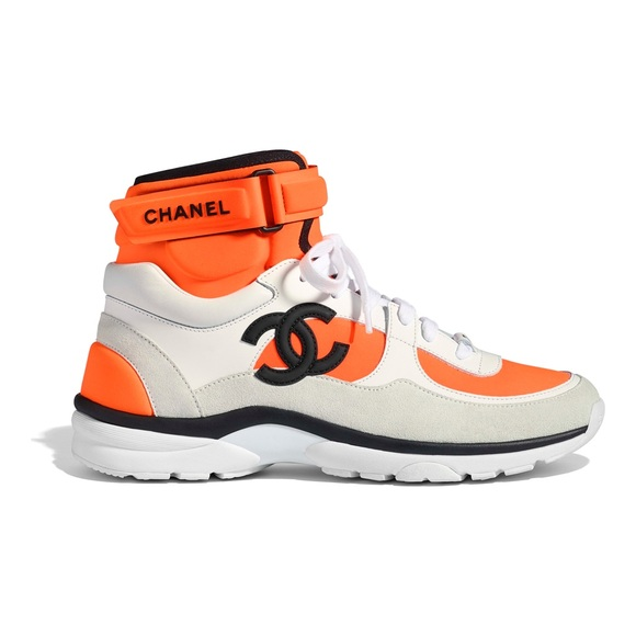 CHANEL Shoes | White Orange Cc Logo High Top Sneaker | Poshmark